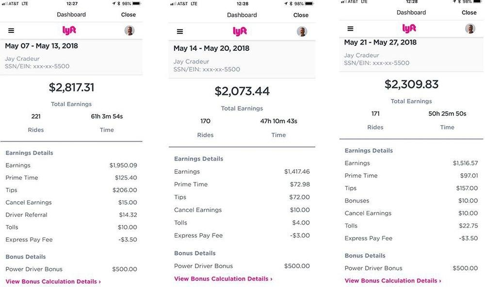 Jay Cradeur lyft driver income earnings example