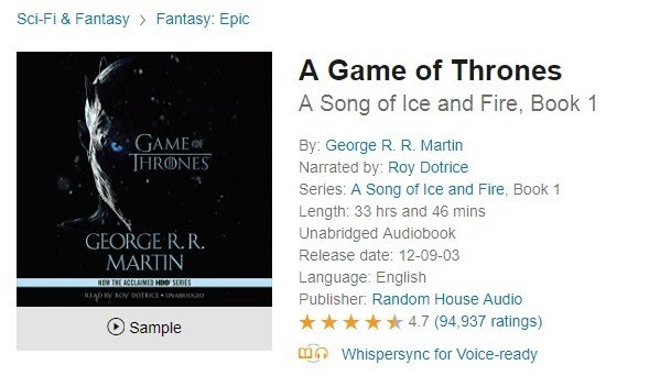 A Game of Thrones Free Audio books online
