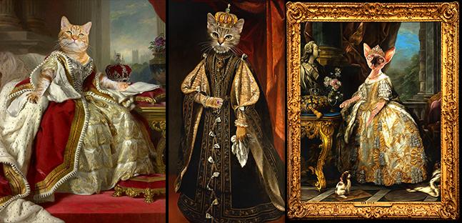 royal cat portrait painting